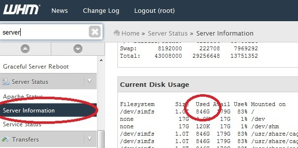 cpanel server information to plan a backup
