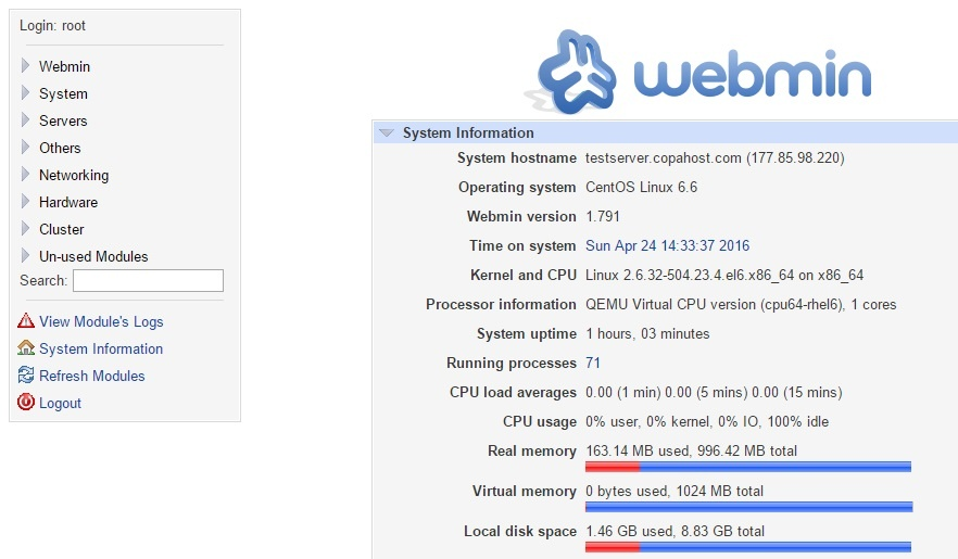 after installing webmin, the home of the control panel