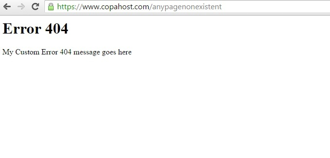 404 error page with an error message only