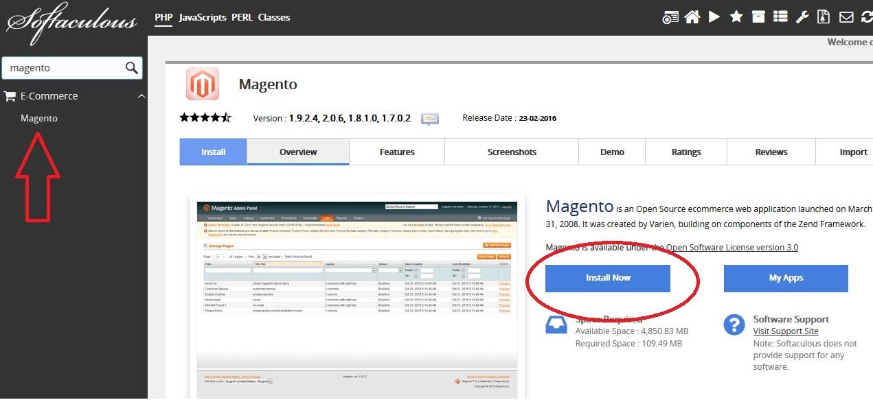 Install Magento softaculous