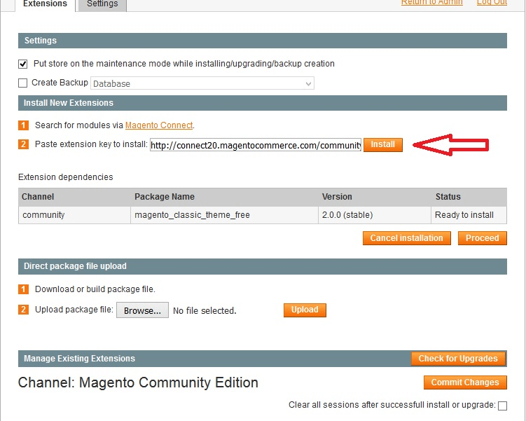 install magento connect extension
