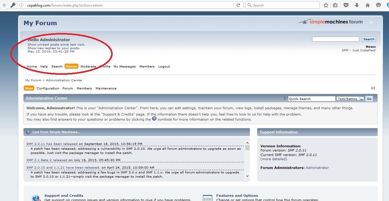 login to simple machines forum - admin panel