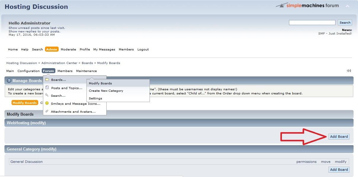 modify board in smf simple machines forum