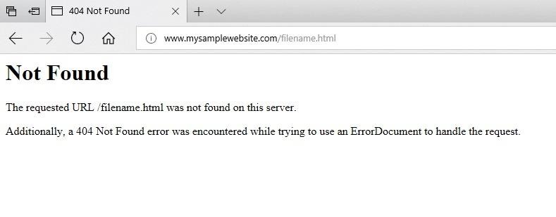 404 error code in the browser