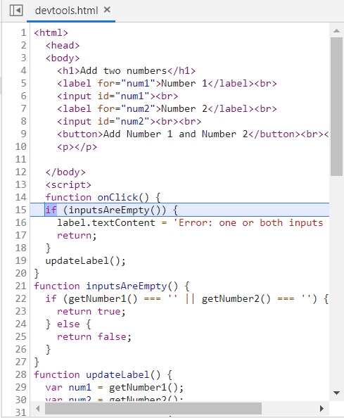 source code html debug in chrome