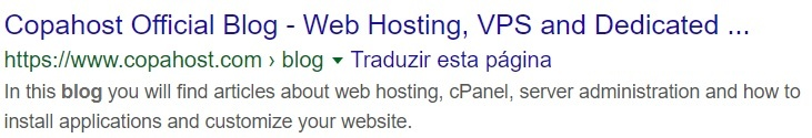 """SEO: Title and Description for the search of """"CopaHost Blog"""" on Google"""