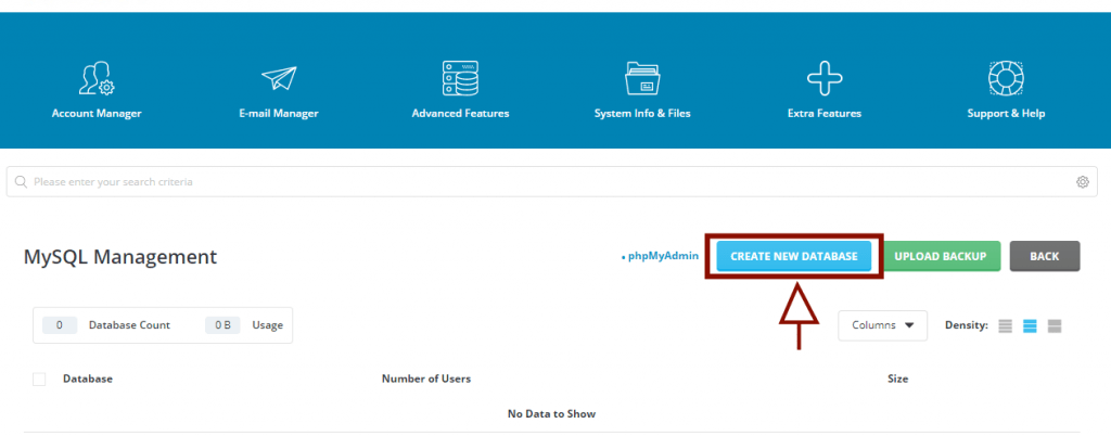 how to I host my wordpress site: Create new Database with Direct Admin MySQL Management