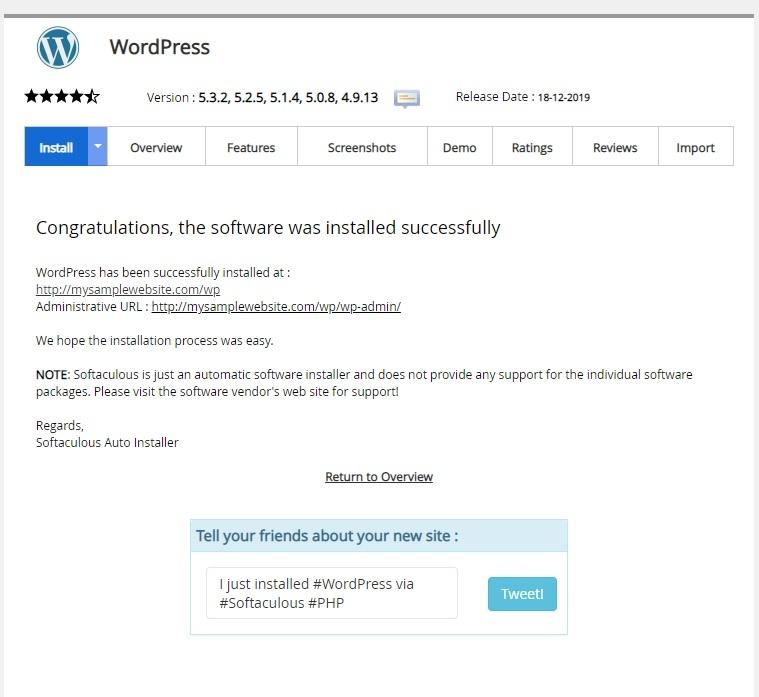 Wordpress Instalation by softaculous