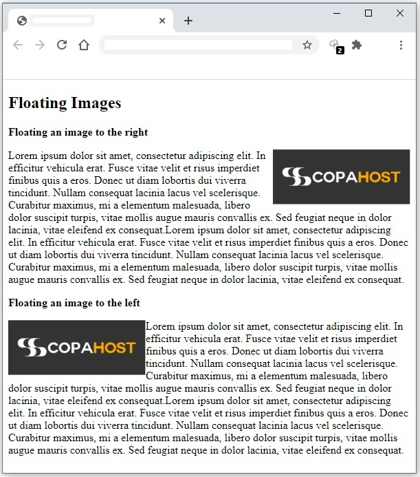 Example page of floating page with html img